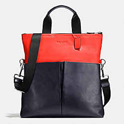 COACH F71722 Foldover Tote In Smooth Leather MIDNIGHT/ORANGE