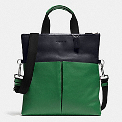 FOLDOVER TOTE IN SMOOTH LEATHER - f71722 - GRASS/MIDNIGHT