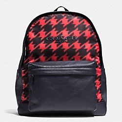 COACH F71755 Campus Backpack In Printed Nylon RED HOUNDSTOOTH