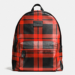 COACH F71821 Campus Backpack In Printed Leather BLACK ANTIQUE NICKEL/RED/BLACK