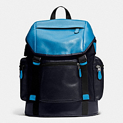 COACH F72018 Trek Pack In Nylon And Perforated Leather AZURE