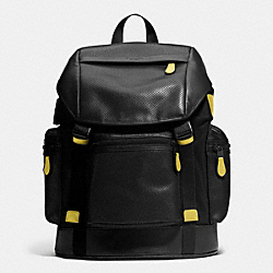 COACH F72018 Trek Pack In Nylon And Perforated Leather BLACK