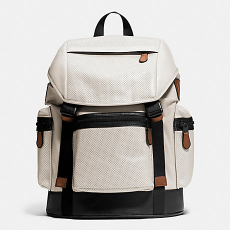 COACH f72018 TREK PACK IN NYLON AND PERFORATED LEATHER CHALK