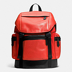 COACH F72018 Trek Pack In Nylon And Perforated Leather CARMINE