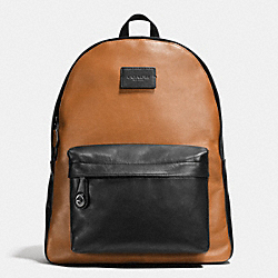 CAMPUS BACKPACK IN SPORT CALF LEATHER - f72034 - BLACK ANTIQUE NICKEL/SADDLE/BLACK