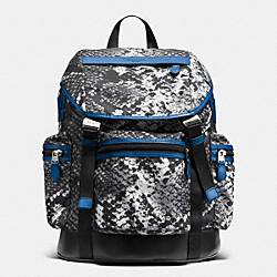 COACH F72036 Trek Pack In Printed Nylon BLACK PYTHON/DENIM