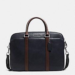 COACH F72047 Slim Brief In Calf Leather NAVY/MAHOGANY