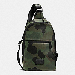 CAMPUS PACK IN PRINTED PEBBLE LEATHER - f72059 - BLACK/MILITARY WILD BEAST