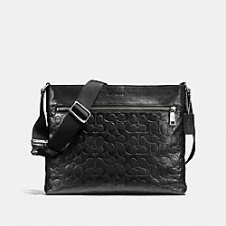 SAM CROSSBODY IN SIGNATURE SPORT CALF LEATHER - f72106 - SILVER/BLACK