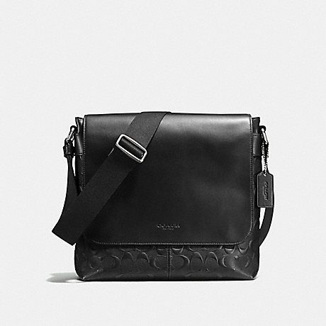 COACH F72220 CHARLES SMALL MESSENGER IN SIGNATURE CROSSGRAIN LEATHER BLACK