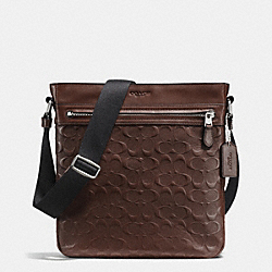 CHARLES TECH CROSSBODY IN SIGNATURE CROSSGRAIN LEATHER - f72221 - MAHOGANY