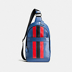 CHARLES PACK IN VARSITY LEATHER - f72226 - INDIGO/BRIGHT RED