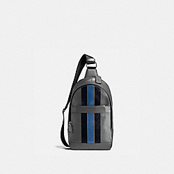 COACH F72226 Charles Pack In Varsity Leather GRAPHITE/MIDNIGHT NAVY/DENIM