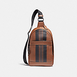 COACH F72226 Charles Pack In Varsity Leather BLACK ANTIQUE NICKEL/DARK SADDLE/BLACK/MAHOGANY
