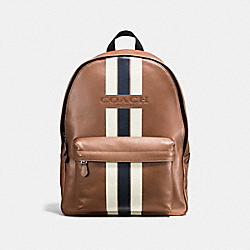 COACH F72237 Charles Backpack In Varsity Leather DARK SADDLE/MIDNIGHT