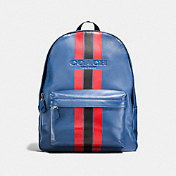 COACH F72237 - CHARLES BACKPACK IN VARSITY LEATHER INDIGO/BRIGHT RED