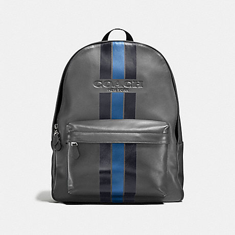 COACH f72237 CHARLES BACKPACK IN VARSITY LEATHER GRAPHITE/MIDNIGHT NAVY/DENIM