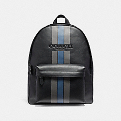 CHARLES BACKPACK IN VARSITY LEATHER - f72237 - BLACK ANTIQUE NICKEL/BLACK/GRAPHITE/DARK DENIM