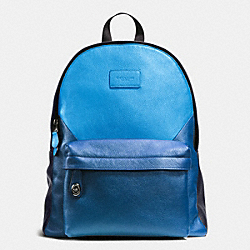 CAMPUS BACKPACK IN PATCHWORK PEBBLE LEATHER - f72239 - BLACK ANTIQUE NICKEL/AZURE/DENIM