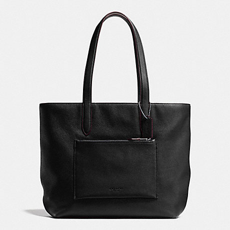 COACH f72299 METROPOLITAN SOFT TOTE IN PEBBLE LEATHER ANTIQUE NICKEL/BLACK