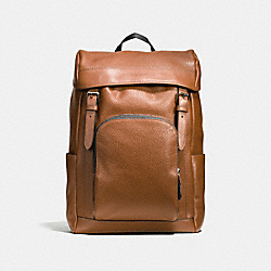 HENRY BACKPACK IN PEBBLE LEATHER - f72311 - DARK SADDLE