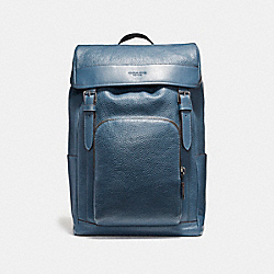 HENRY BACKPACK IN PEBBLE LEATHER - f72311 - BLACK ANTIQUE NICKEL/DARK DENIM