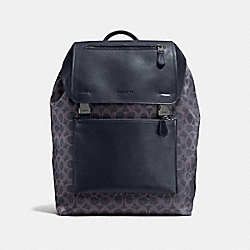 MANHATTAN BACKPACK IN SIGNATURE CANVAS - F72312 - DARK DENIM/MIDNIGHT/BLACK