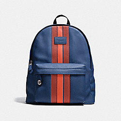 CAMPUS BACKPACK WITH VARSITY STRIPE - F72313 - INDIGO/TERRACOTA/BLACK ANTIQUE NICKEL