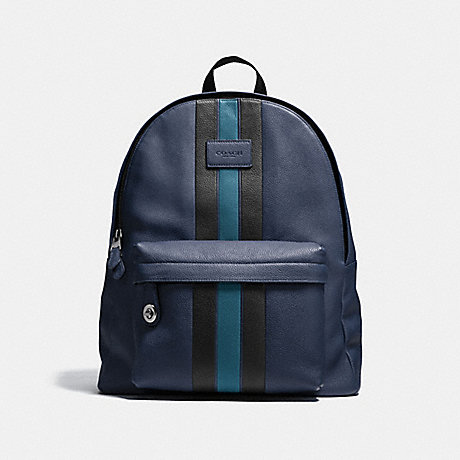 9ded3073f06 COACH f72313 CAMPUS BACKPACK WITH VARSITY STRIPE BLACK ANTIQUE  NICKEL MIDNIGHT MINERAL
