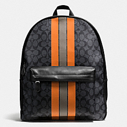 COACH F72340 - CHARLES BACKPACK IN VARSITY SIGNATURE CHARCOAL/ORANGE