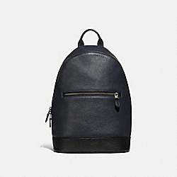 WEST SLIM BACKPACK - F72510 - MIDNIGHT NAVY/BLACK ANTIQUE NICKEL