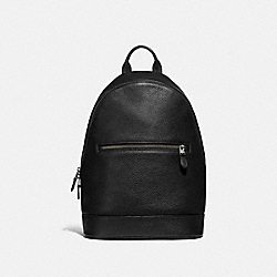 WEST SLIM BACKPACK - F72510 - BLACK/BLACK ANTIQUE NICKEL