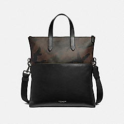GRAHAM FOLDOVER TOTE IN SIGNATURE CANVAS WITH CAMO PRINT - F72527 - GREEN MULTI/BLACK ANTIQUE NICKEL