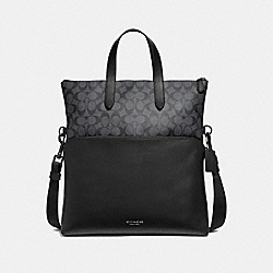COACH F72528 - GRAHAM FOLDOVER TOTE IN SIGNATURE CANVAS CHARCOAL/BLACK/BLACK ANTIQUE NICKEL