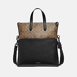 COACH F72528 - GRAHAM FOLDOVER TOTE IN SIGNATURE CANVAS TAN/BLACK ANTIQUE NICKEL