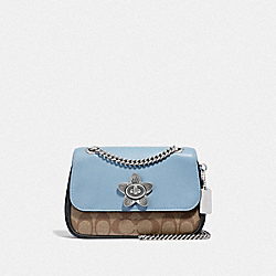 MINI CASSIDY CROSSBODY IN SIGNATURE CANVAS - F72624 - KHAKI/BLUE MULTI/SILVER