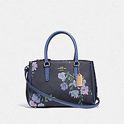 COACH F72641 - MINI SURREY CARRYALL WITH PAINTED PEONY PRINT NAVY MULTI/IMITATION GOLD