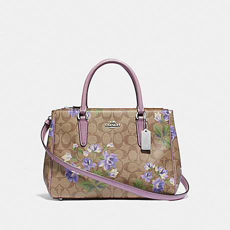 COACH F72642 SURREY CARRYALL IN SIGNATURE CANVAS WITH LILY PRINT KHAKI/PURPLE-MULTI/SILVER