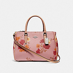 SURREY CARRYALL WITH PAINTED PEONY PRINT - F72643 - CARNATION MULTI/SILVER
