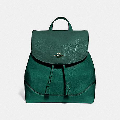 COACH Pebble Leather Elle Backpack Purse Rucksack F72645 GREEN LIGHT CLOVER