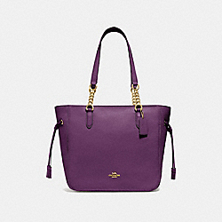 ELLE CHAIN TOTE - F72650 - GOLD/BLACKBERRY