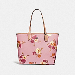 REVERSIBLE CITY TOTE IN SIGNATURE CANVAS WITH PAINTED PEONY PRINT - F72652 - CARNATION MULTI/LIGHT KHAKI/SILVER