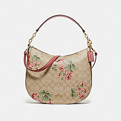ELLE HOBO IN SIGNATURE CANVAS WITH LILY PRINT - F72656 - LIGHT KHAKI/PINK MULTI/IMITATION GOLD