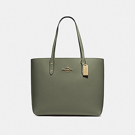 COACH F72673 TOWN TOTE MILITARY GREEN/GOLD