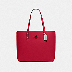 COACH F72673 Town Tote BRIGHT CARDINAL/SILVER