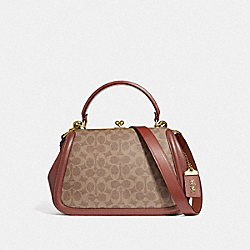 COACH F72683 - FRAME BAG IN SIGNATURE CANVAS B4/TAN RUST