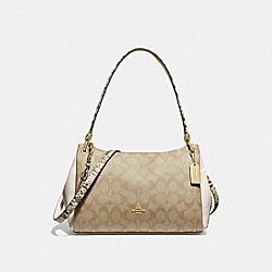SMALL MIA SHOULDER BAG IN SIGNATURE CANVAS - F72695 - LIGHT KHAKI/CHALK/GOLD