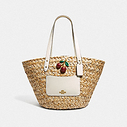STRAW BASKET TOTE WITH CHERRY - F72705 - NATURAL CHALK/GOLD