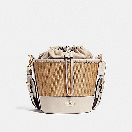 Coach F72707 Straw Bucket Bag Natural Chalk Gold