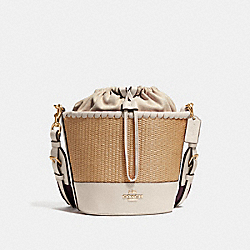COACH F72707 Straw Bucket Bag NATURAL CHALK/GOLD